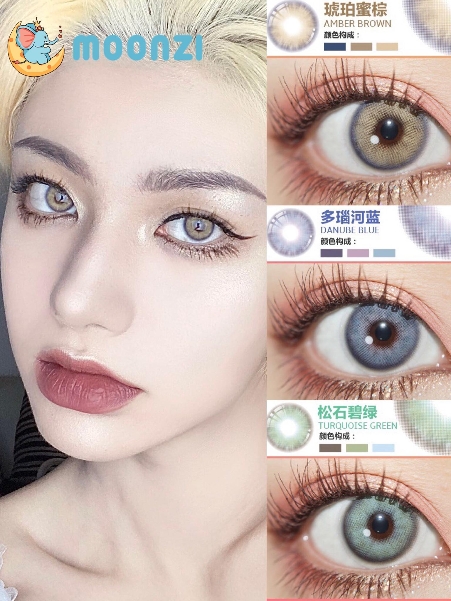 Контактные линзы MOONZI, уникальные синие контактные линзы для глаз, маленькие цветные контактные линзы для красивых зрачков, для ежегодного к...
