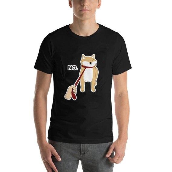 "Shiba Inu ""No"" Camiseta perro amante algodón Casual camiseta cachorro mascota Animal Tee para hombres unisex"