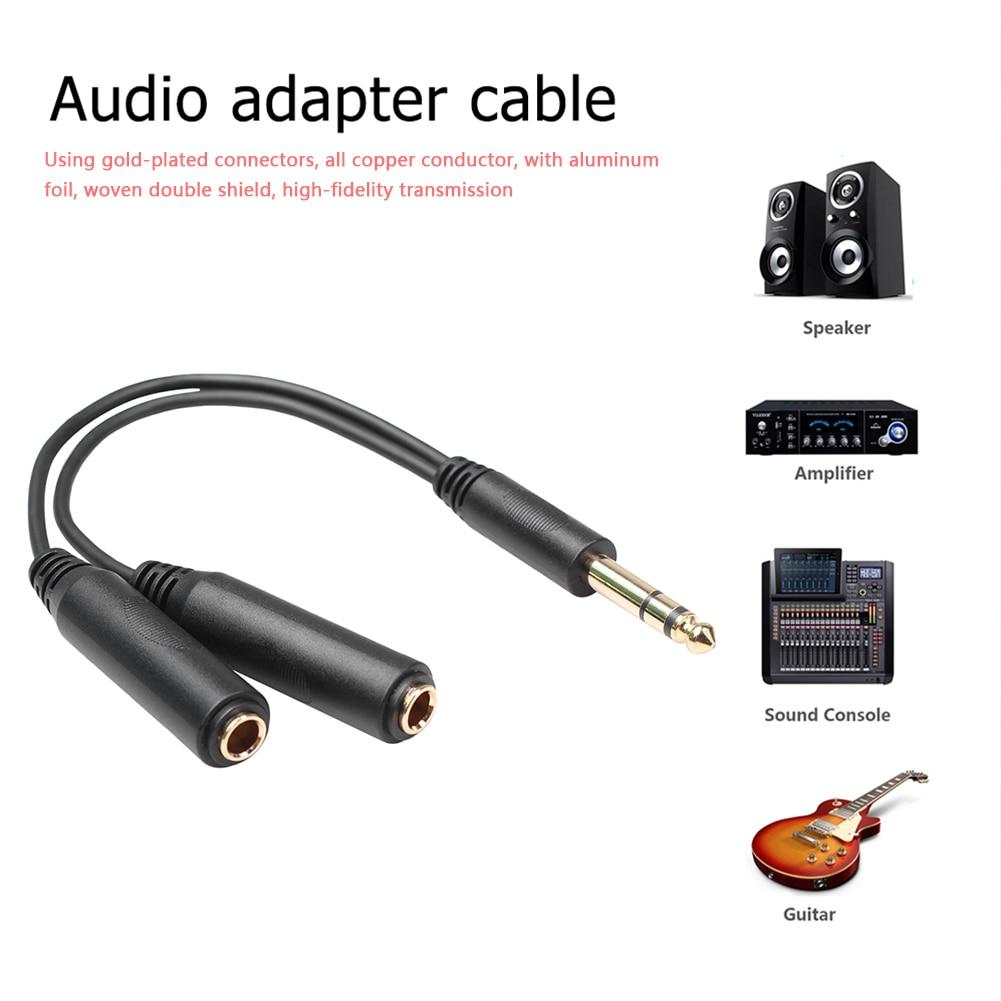 1/4 6,35mm Cable de Audio adaptador hembra 1/4 6,35mm macho a cordón Doble micrófono mezclador divisor Cable de Audio estéreo