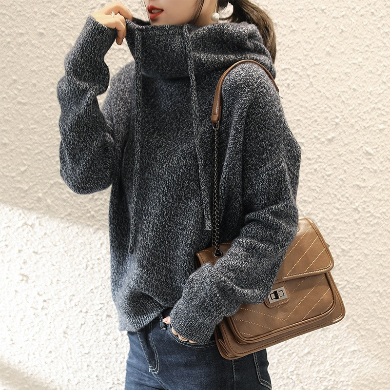 Sparsil Women Winter Hooded 100% Cashmere Sweater Knitted Pulloves Solid Color Slim Lazy Style Soft Warm Fashion Women Knitwear enlarge