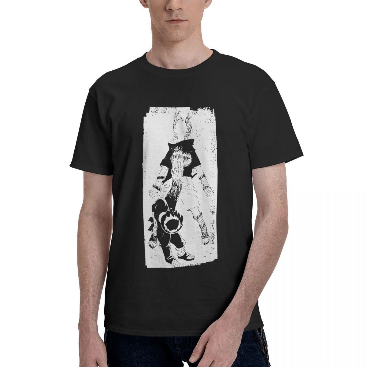 تي شيرت كلاسيكي من Uchiha Sasuke Rock Lee Bandai Naruto تي شيرت رجالي بياقة دائرية من القطن الخالص تي شيرت أنيمي بأكمام قصيرة ملابس الصيف