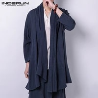 incerun fashion men solid color long sleeve elegant cardigan trench street trend scarf collar mens thin cotton casual outerwear