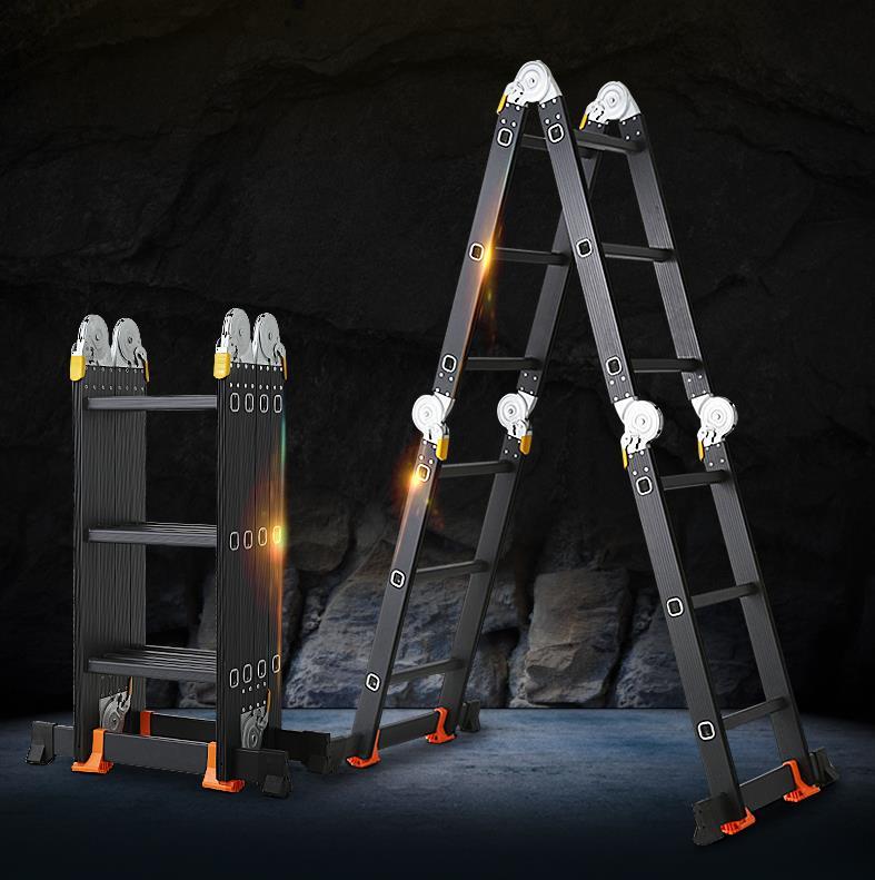 4.0-5.8m Telescopic Ladder Folding Ladder Aluminum Multifunctional Household Thickening Telescopic Ladder