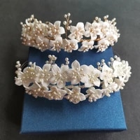 slbridal handmade luxury crystal rhinestones pearls ceram flower bridal tiara wedding bridesmaids party crown women hair jewelry