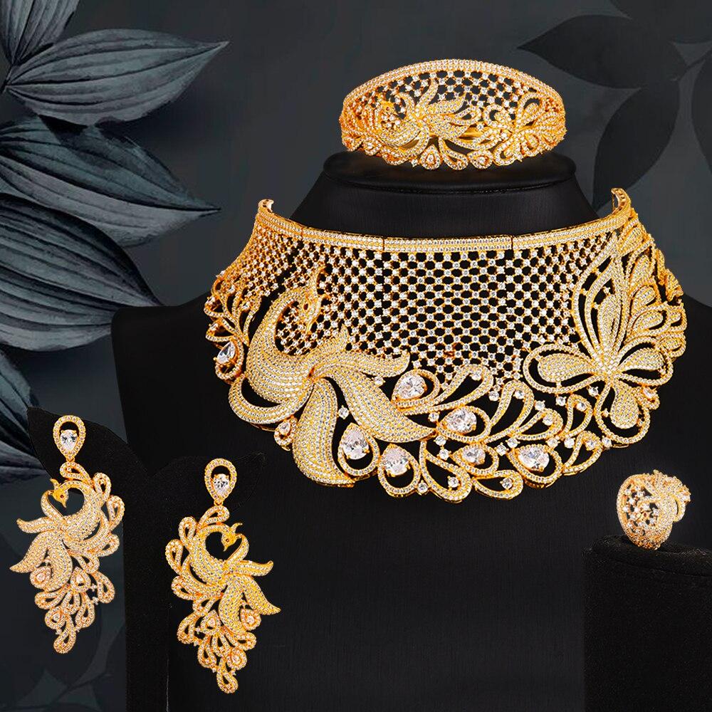 Blachette جوهرة فاخرة بيان كبير قلادة القرط الإسورة خاتم مجموعات دبي مجموعات مجوهرات للنساء مكعب الزركون الزفاف الزفاف