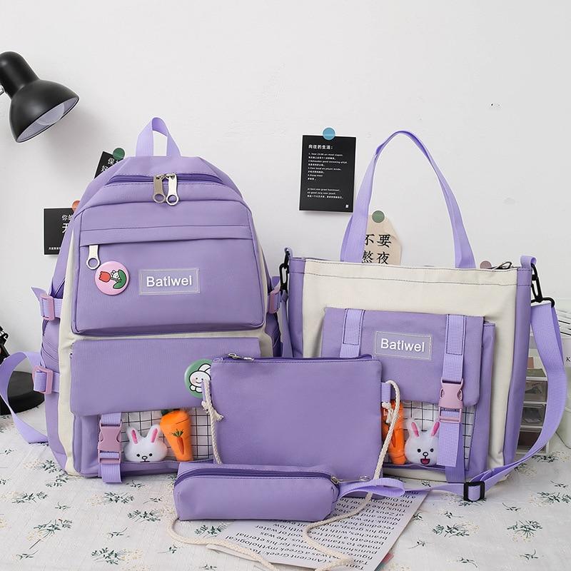 Набор из 4 предметов, модные рюкзаки для женщин, холщовые водонепроницаемые школьные сумки для девочек, вместительные дорожные рюкзаки, сум...