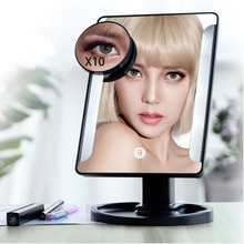 Tiras de luz en ambos lados 22 luces LED pantalla táctil espejo de maquillaje 1X 10X brillante 180 grados ajustable USB o uso de baterías