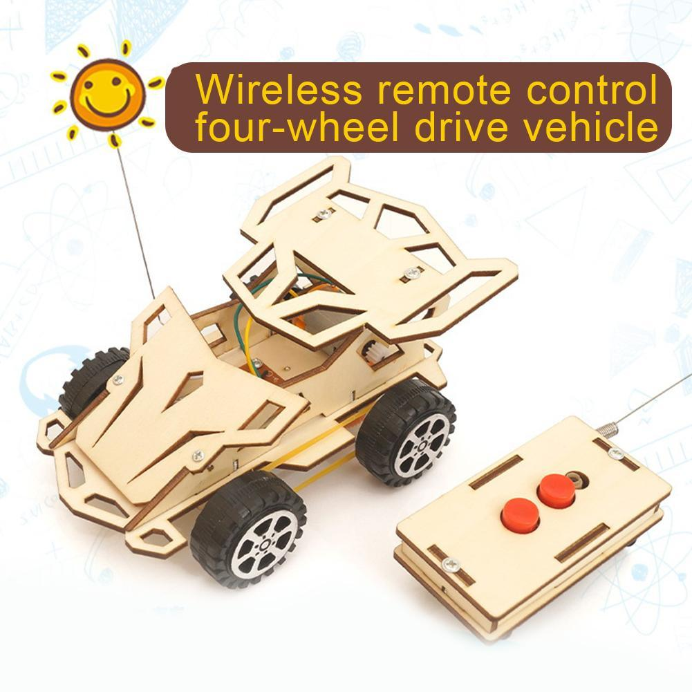 Kids DIY Wireless RC Racing Car Model Scientific Experiment Kit Educational Toys Children Handmade Assembled Toy Cars Kid Gifts kids diy doodle robot toy children experiment science projects educational model experiments scientific principles of toys