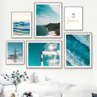 ocean wave mountain chimney wire cloud wall art canvas painting nordic posters and prints wall pictures for living room decor