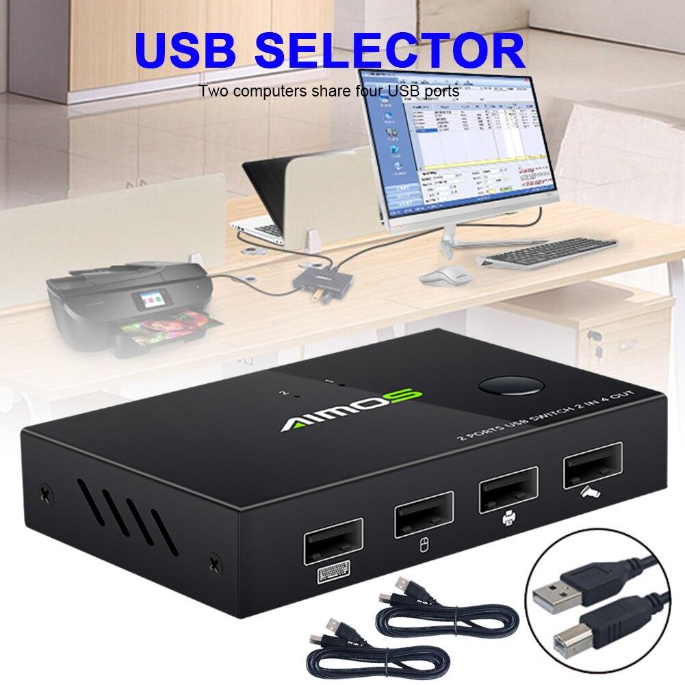 Мультикомпьютер, селектор переключателя принтера с общим доступом по USB 2,0, устройство для обмена 2-в-1, 4-выход, мышь/сканер/принтер/клавиатур...