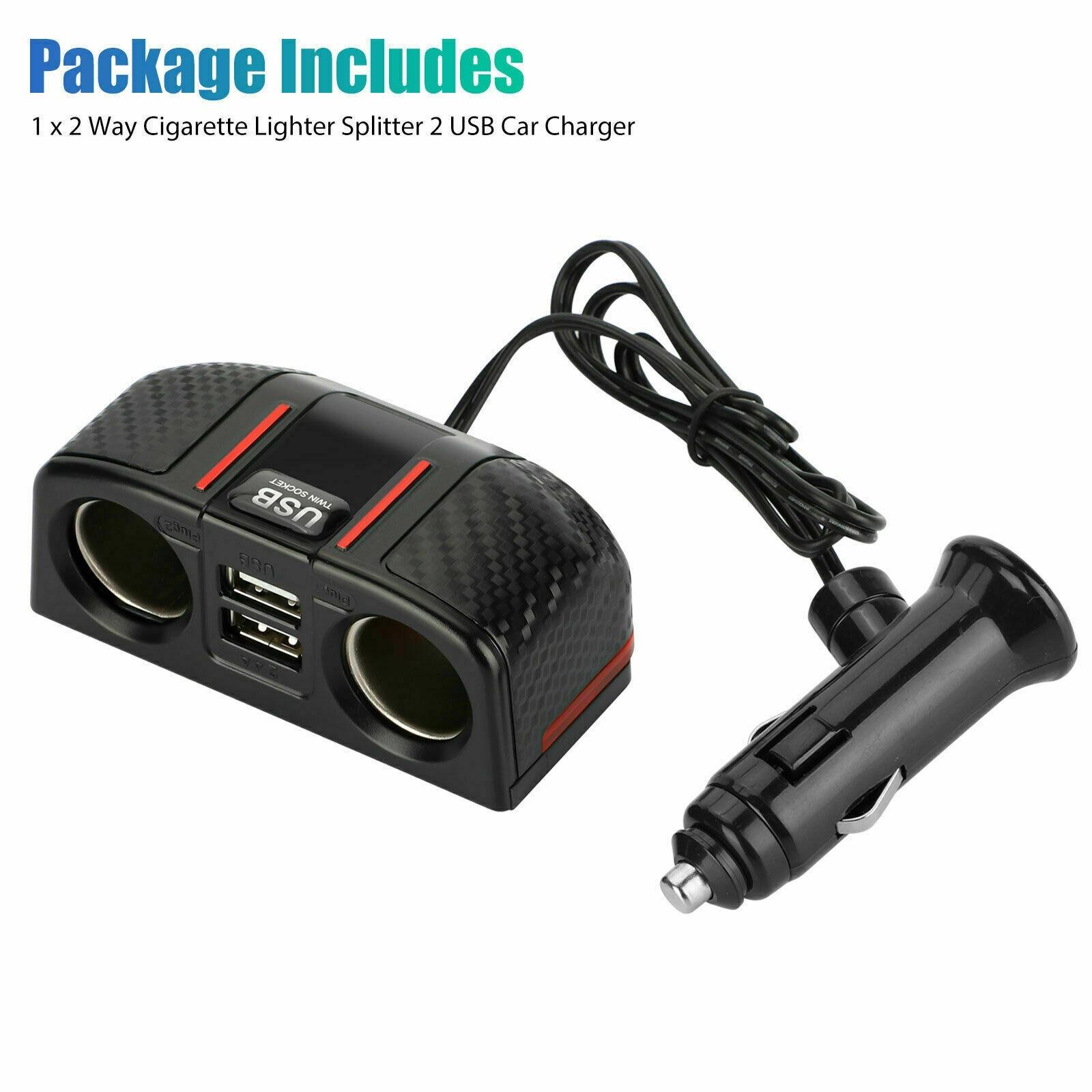 Автомобильный двухсторонний прикуриватель + двойной USB-разветвитель зарядного устройства 12 В, выходной адаптер питания, аксессуары для авт...