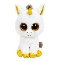 ty big glitter eyes white gold unicorn plush stuffed animal collectible toy christmas gift for kids 15cm