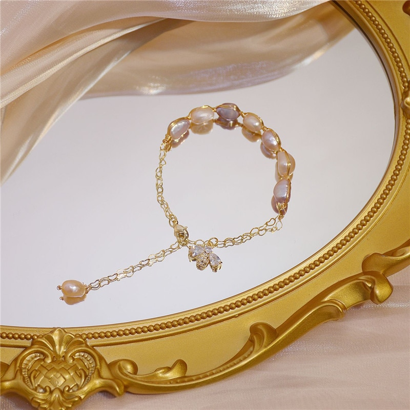 Pulsera de lujo coreana rosa púrpura Natural de perlas de agua dulce, exquisita pulsera de cadena de oro de abeja de circón Retro a la moda para mujer
