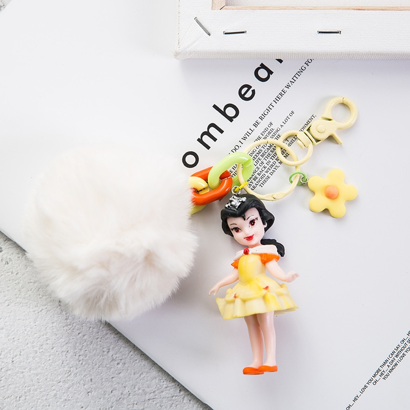 Creative Cute Princess Keychains Snow White Belle Ariel Cinderella Pendant Figurine PVC Action Figure Model Toy Key Ring