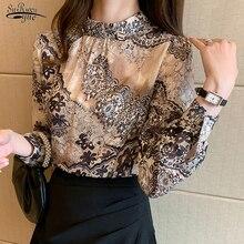Nuova camicetta floreale elegante donna Casual Plus Size colletto alla coreana camicie femminili stampa manica lunga abbigliamento donna Blusas 13089