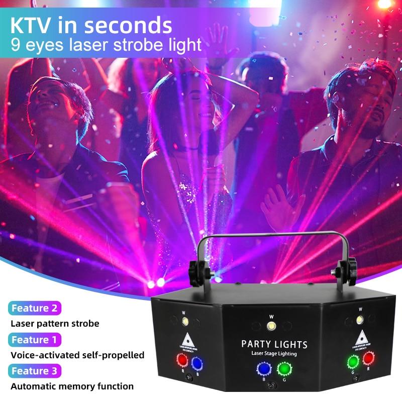 WUZSTAR 9 Eyes LED RGB Beam Lights DMX Laser Projector With Sound Activited Remote Control Night Lights Kids Bedroom Decoration enlarge