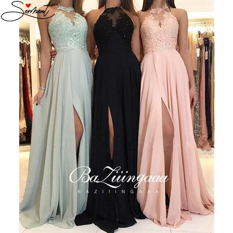 BAZIIINGAAA 2020 Sprin&/Summer New Simple Criss-Cross Solid Color Evening Dress Long Chiffon Gown Bridesmaid
