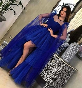 Best Selling Illusion O Neck Short Front Long Back High Low Royal Blue Cocktail Dresses with Cape