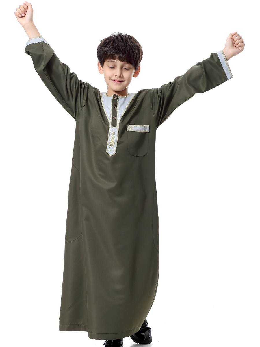 Turkish Muslim Kids Abaya Jubba Thobe Kimono Boy Thobe Thawb Caftan for Children Islamic Clothing Long Robes Dress Dubai Arab