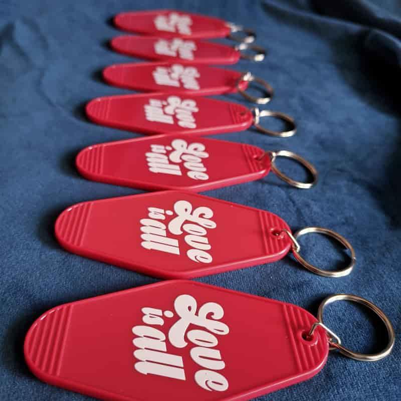 10 قطعة الطباعة الترويجية شعار ختم الساخن فندق سلسلة المفاتيح