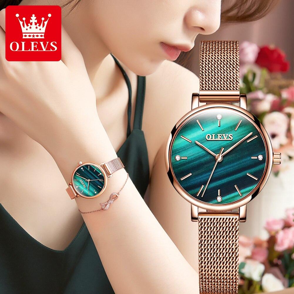 OLEVS Elegant Women's Wrist Watch 2021 Luxury Rose Gold Green Ladies Watch For Women Waterproof Cale
