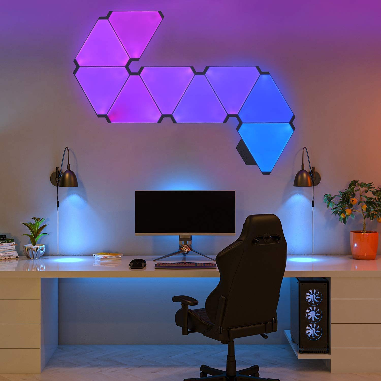 Triangle Lights RGB Colorful Wall-Mounted LED Light APP Controllable Triangle Gaming Lights Perfect Decor for Room, Living Room