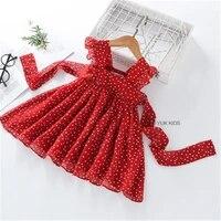 new girls dress summer girls sleeveless chiffon polka dot dress princess dress girl children clothing%c2%a0