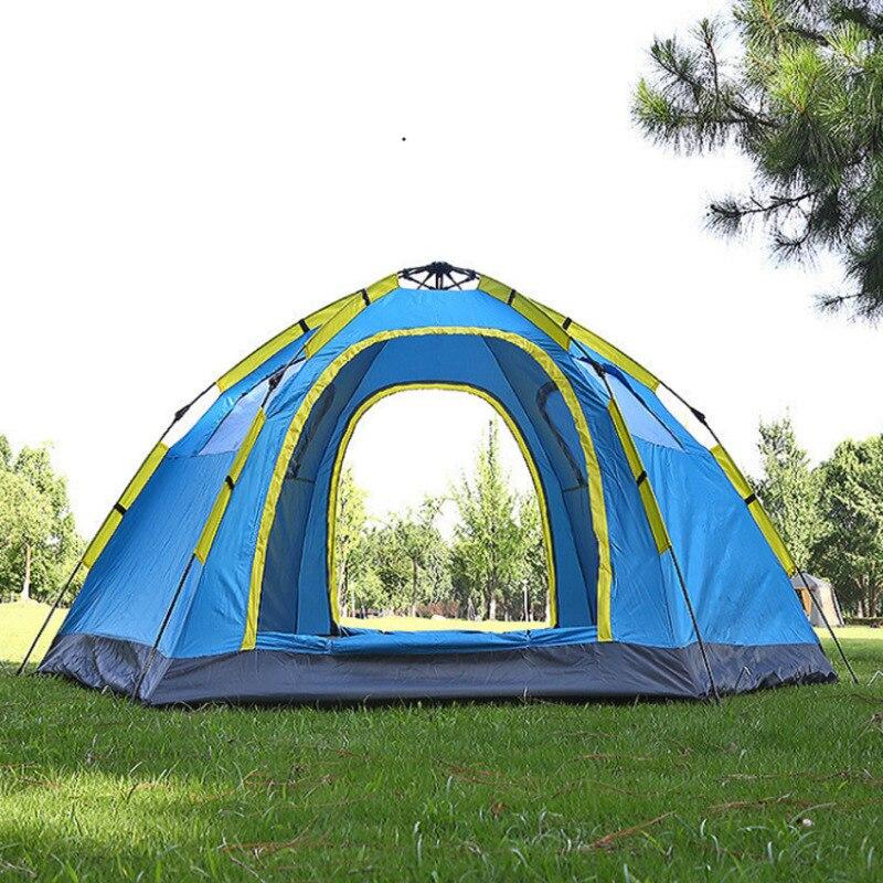 5-8 شخص التخييم في الهواء الطلق التلقائي خيمة 2 باب 4 نافذة للماء واقية من الشمس الأشعة فوق البنفسجية حماية كبيرة الفضاء المنغولية يورت خيمة