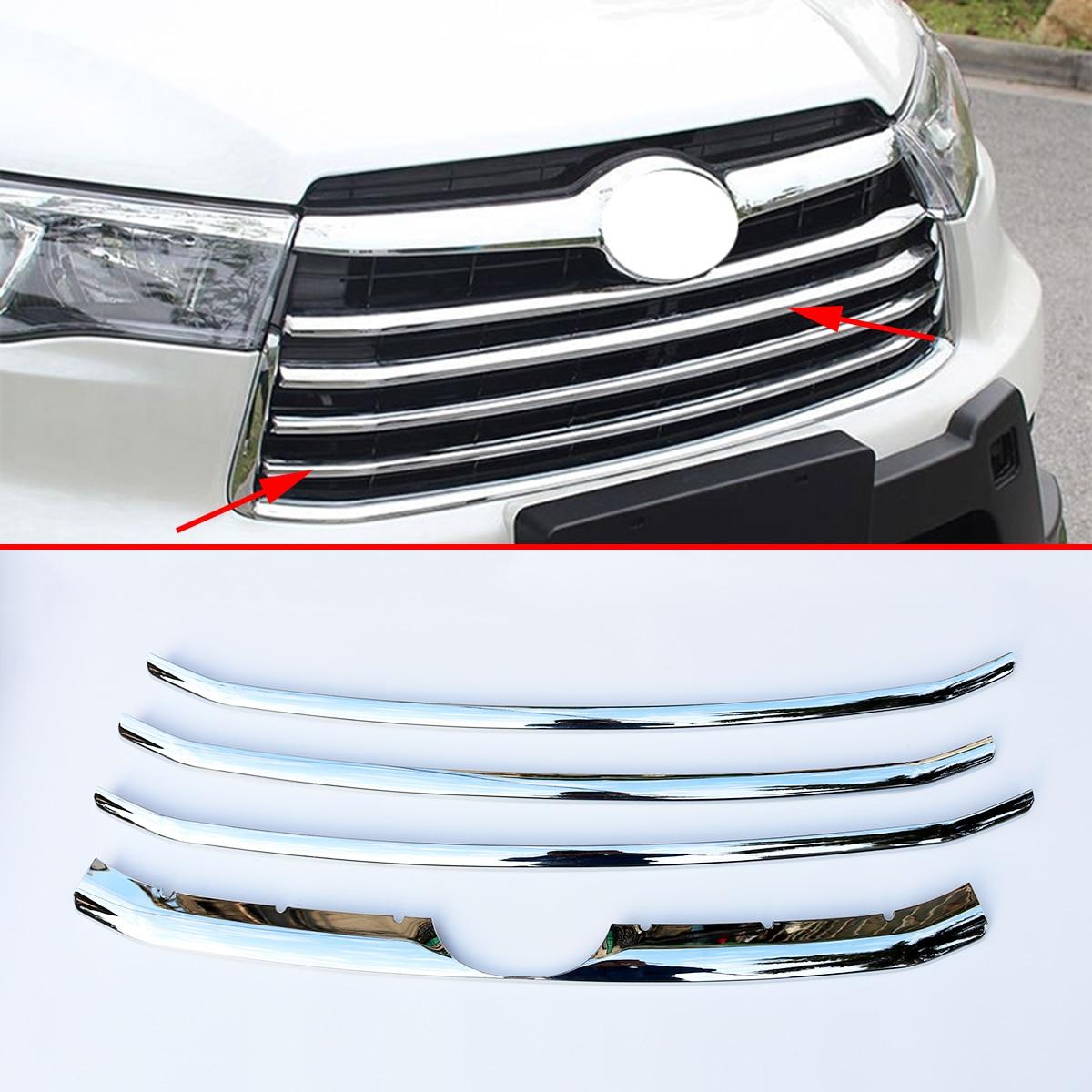 Ajuste cromado para Toyota Highlander cluger accesorios 2014 2015 2016 parrilla frontal paragolpes funda de rayas moldura Exterior