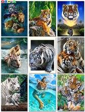 Mosaïque en diamant pour la famille 2Jh02   Carré peinture 3D diamant, tigres animaux, nouvelle peinture de broderie en diamant, Dierlijke Tijger complète