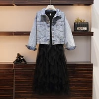 large size l 5xl 2020 spring new large size womens denim jacket mesh splicing dress two piece suit