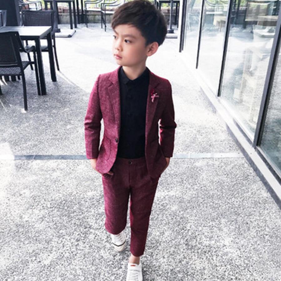 Ropa de fiesta para niños 2 piezas traje Formal para fiesta de boda 2019 traje de chaqueta para niños pequeños trajes escolares para estudiantes