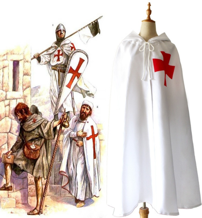 2019 Medieval Knight Templar Crusader Cosplay traje hombres chaleco túnica camisa Warriror Cavalier armadura Tabard negro con cinturón capa