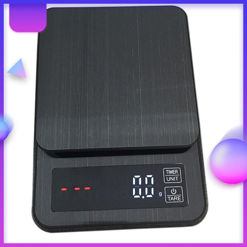 3 كجم/0.1 جرام بالتنقيط مقياس القهوة مع الموقت عالية الدقة التوازن الغذاء المطبخ الموازين USB شحن LCD ميزان إلكتروني المنزلية