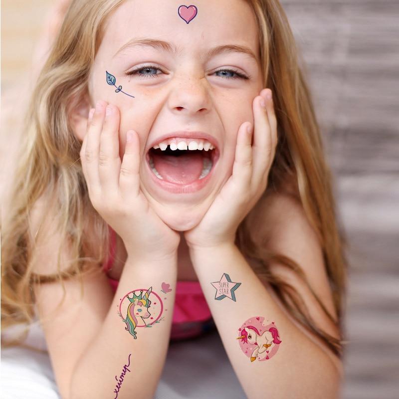Детские тату-наклейки, милые ученические Мультяшные наклейки с единорогом, животными, переводные наклейки, тату-наклейки, тату-наклейки