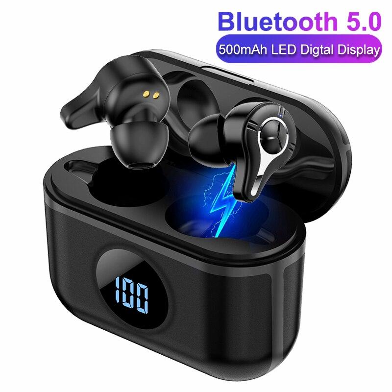9D estéreo TWS inalámbrica auriculares de pantalla Digital Bluetooth 5,0 auriculares de alta fidelidad en-oído deportivos para correr auricular para iOS y Android