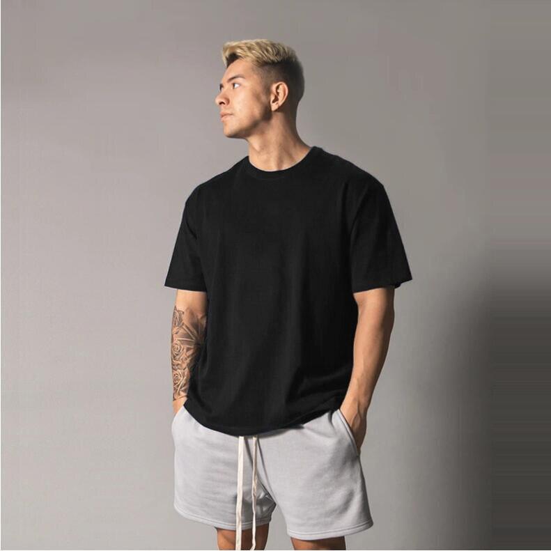 Футболка мужская оверсайз, однотонная одежда для спортзала, бодибилдинга, фитнеса, свободная спортивная одежда, уличная одежда, рубашка в с...