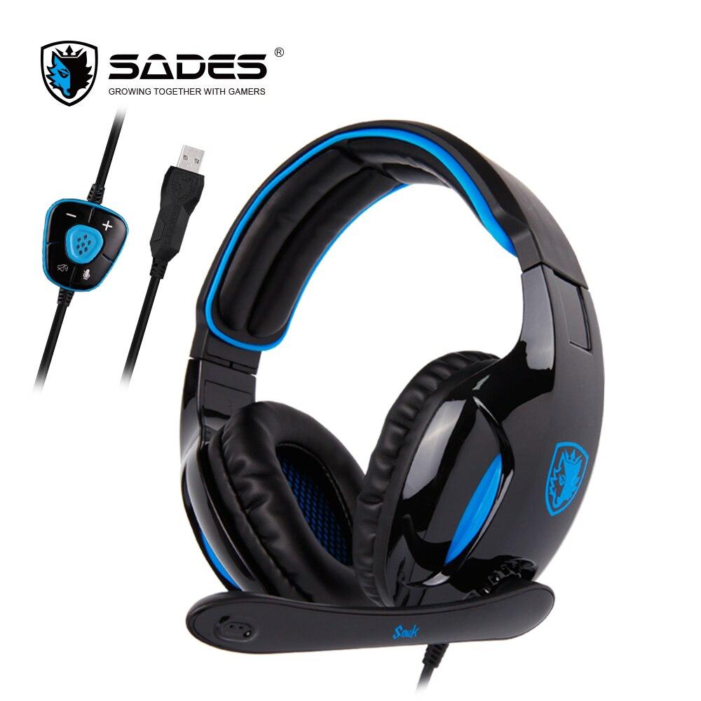 SADES SNUK المهنية سماعات الظاهري 7.1 الصوت المحيطي إلغاء الضوضاء عرض حي سماعة الألعاب للاعبين