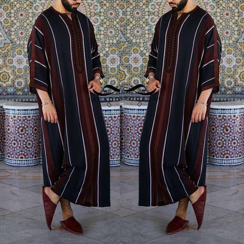 Мусульманское платье Рамадан, модная одежда, мужская кафтан свободного кроя, повседневная абайя, Мужская скромная молодежная одежда, мусул...