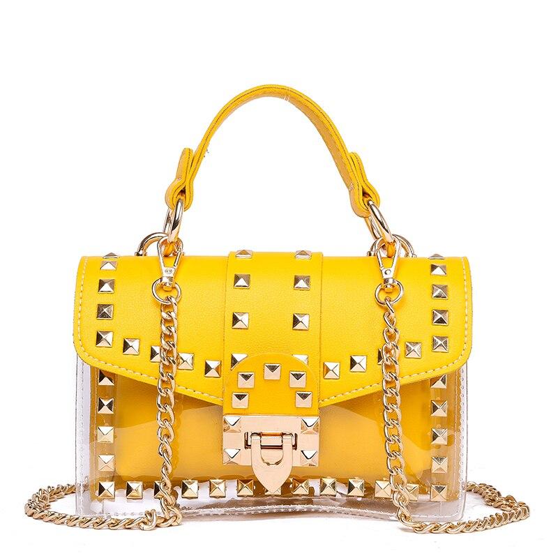 Брендовая дизайнерская женская сумка 2019, модная сумка через плечо, сумка на цепочке с заклепками, прозрачная маленькая квадратная сумка из ПУ + ПВХ, желтая сумка