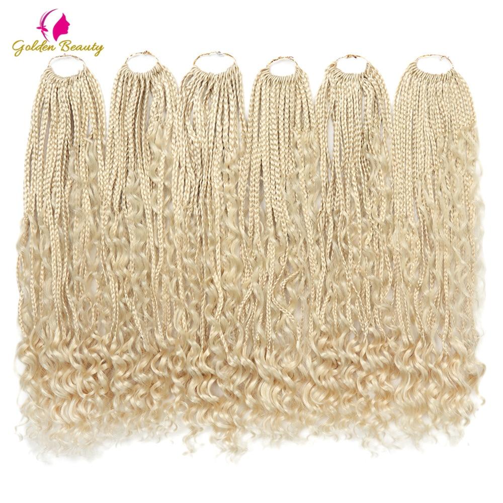 22 pulgadas Boho diosa trenzas de caja negra del pelo con rizos termina pelo trenzado sintético extensión Ombre diosa trenzas de Crochet