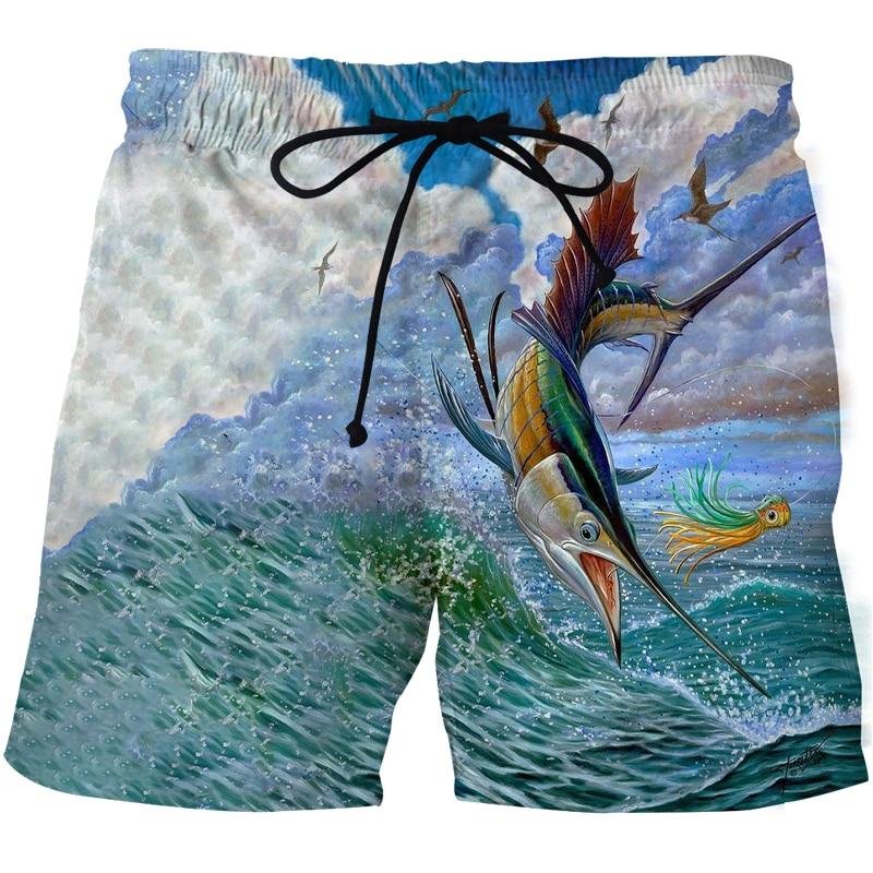 Мужские пляжные шорты для рыбалки 2020, пляжные шорты с 3D-принтом морской рыбы, мужские повседневные пляжные шорты