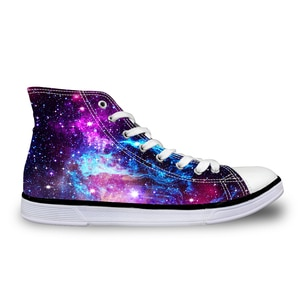 HaoYun Women Vulcanize Shoes Beautiful Starry Design Ladies High-top Canvas Shoes Girls Lace-up Sneakers Shoes Sapato Feminino