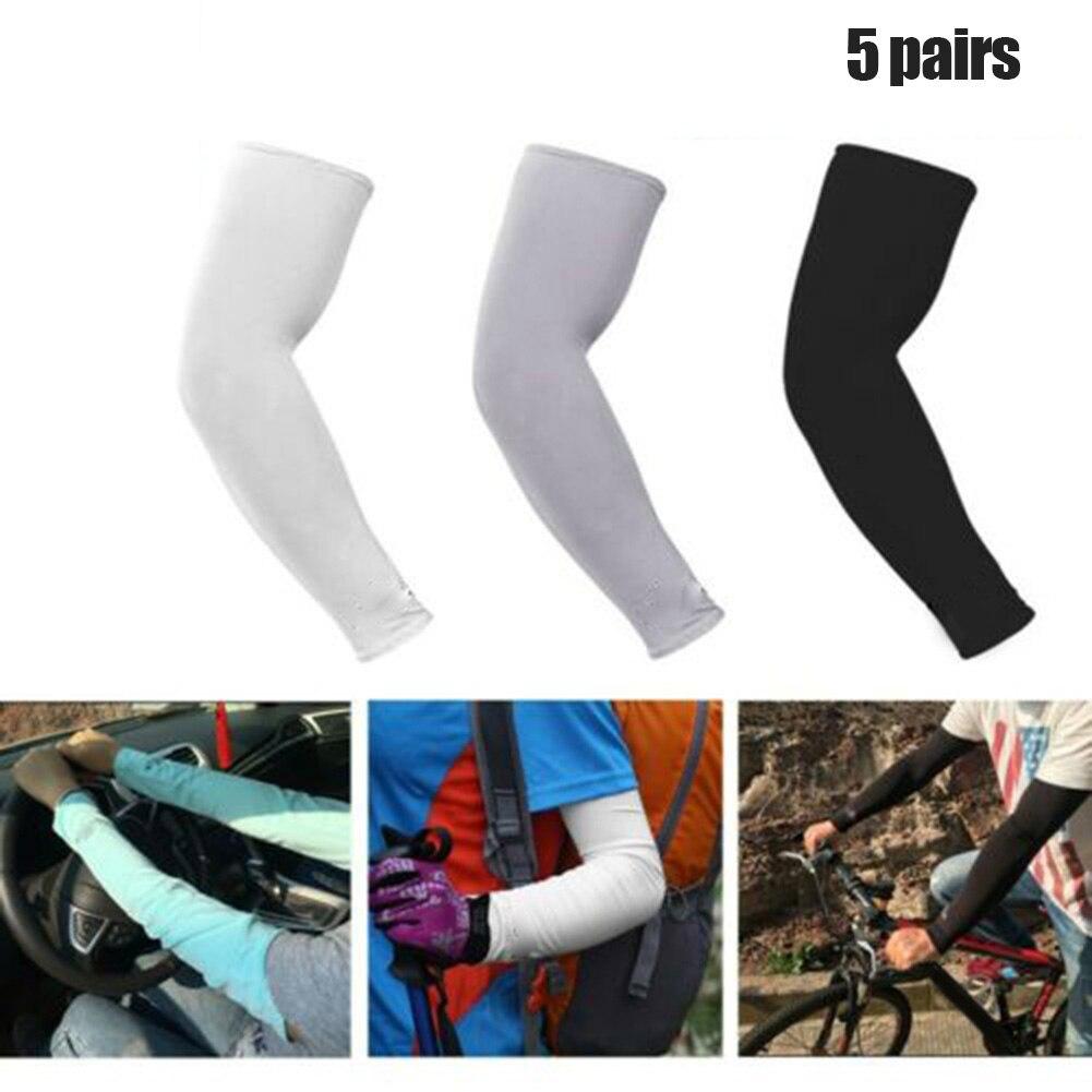 5 pares de mangas de brazo de refrigeración deporte al aire libre Cool Muff baloncesto ciclismo UV protección solar manga Cover-MX8