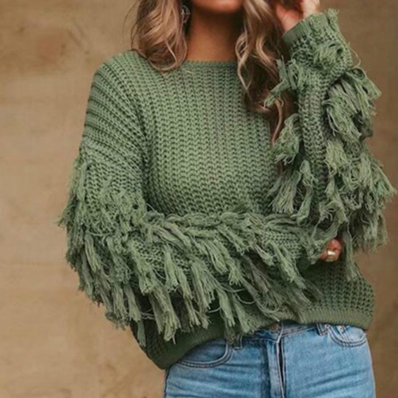 Winter Jumpers Knit Sweaters Ladies Fashion Spring Fringed Sleeves Solid Tops One Size Women Autumn Tops Loose Sweater Pullover black one shoulder long sleeves loose sweaters