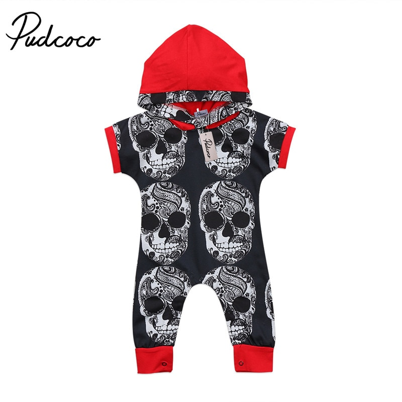 Pudcoco 2020 Summer Toddler Baby Boy Clothes Sets Hooded Short Sleeve Pullovers Covered-Button Romper Jumpsuit Outfits Clothing