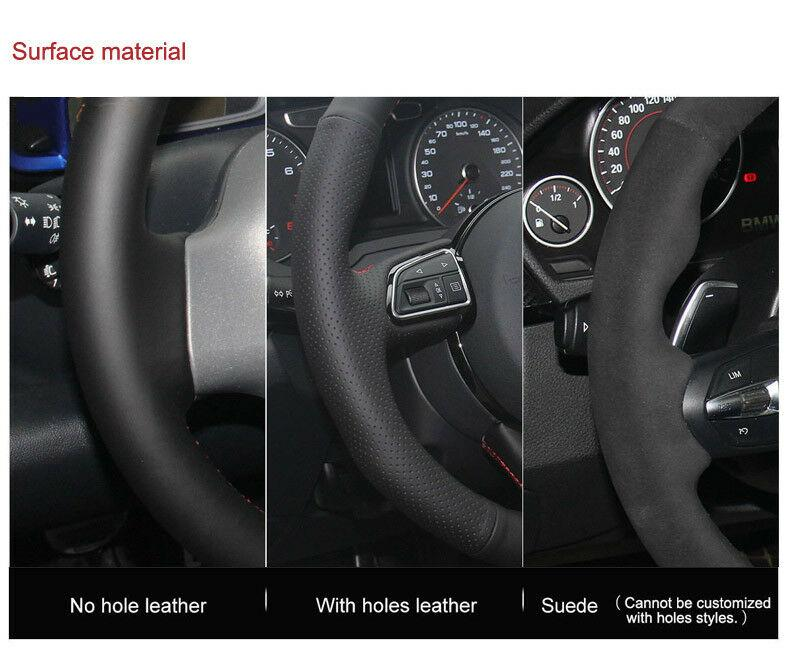 For Audi A1 A3 A5 A7 car steering wheel cover black leather blue red thread DIY