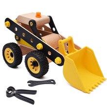 Bloques de construcción educativos de madera para niños tuerca ensamblada excavadora 3D modelo de inserción DIY juguete para regalo