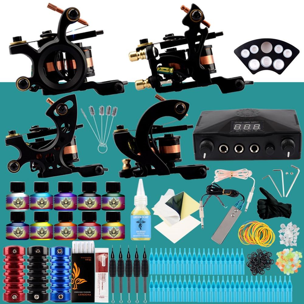 Professional Tattoo Kit 4 Machines Guns Set Design Pigment Inks Set LCD Power Needles Set Body Art Permanent Complete Tattoo Set