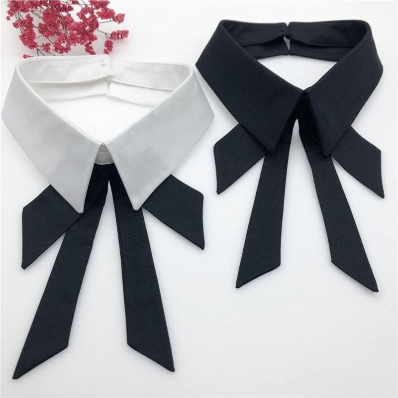 Women Girls Fake Collar Detachable Lapel Blouse Neck Bow Tie False Collar Choker Decorative for Female Clothes Accessory chic bow tie collar sleeveless pure color blouse for women